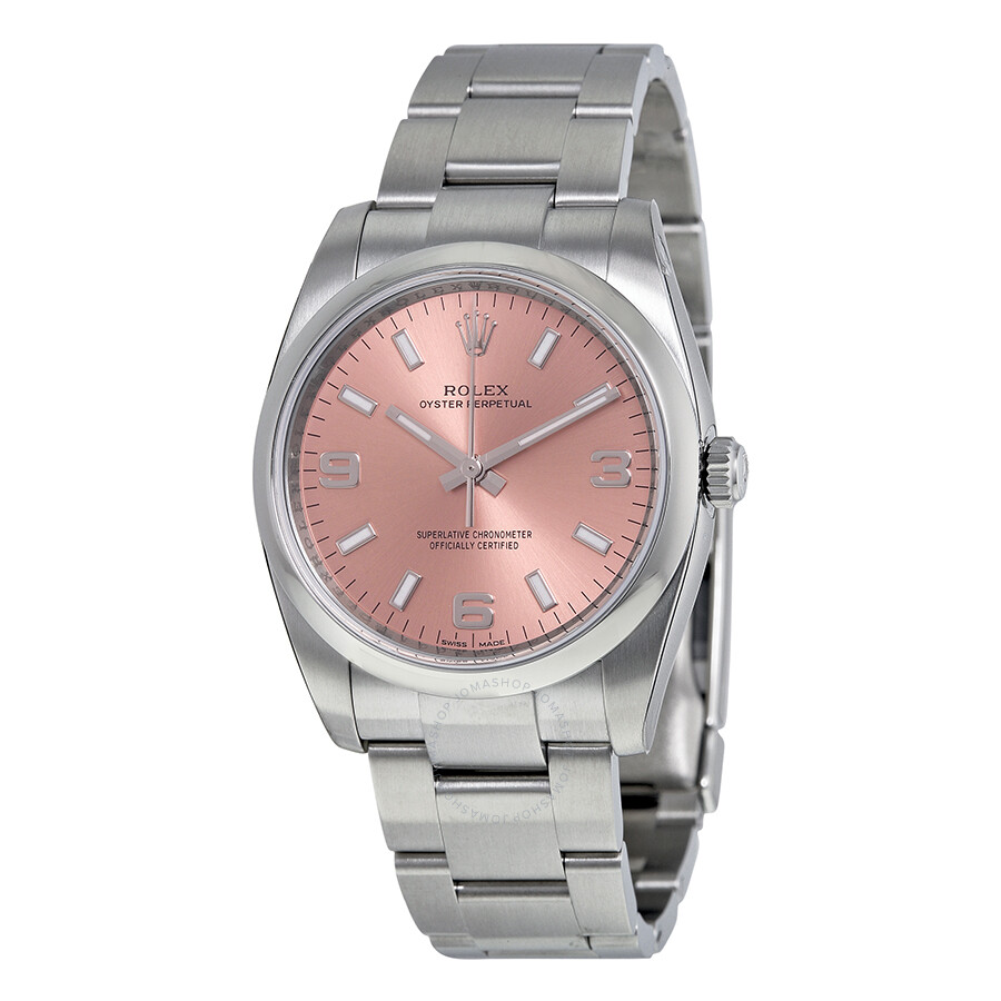 rolex oyster perpetual watches jomashop rolex oyster perpetual 34 pink dial stainless steel oyster automatic men s watch