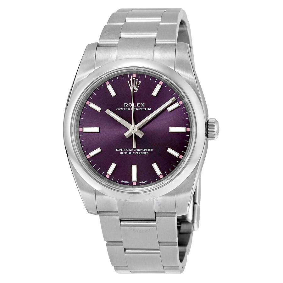 Rolex oyster perpetual 34 purple grape dial stainless steel rolex oyster automatic unisex watch for Oyster watches
