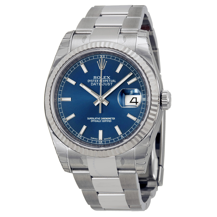 Rolex oyster perpetual 36 mm automatic blue dial stainless steel bracelet men 39 s watch 116234blso for Rolex date just 36
