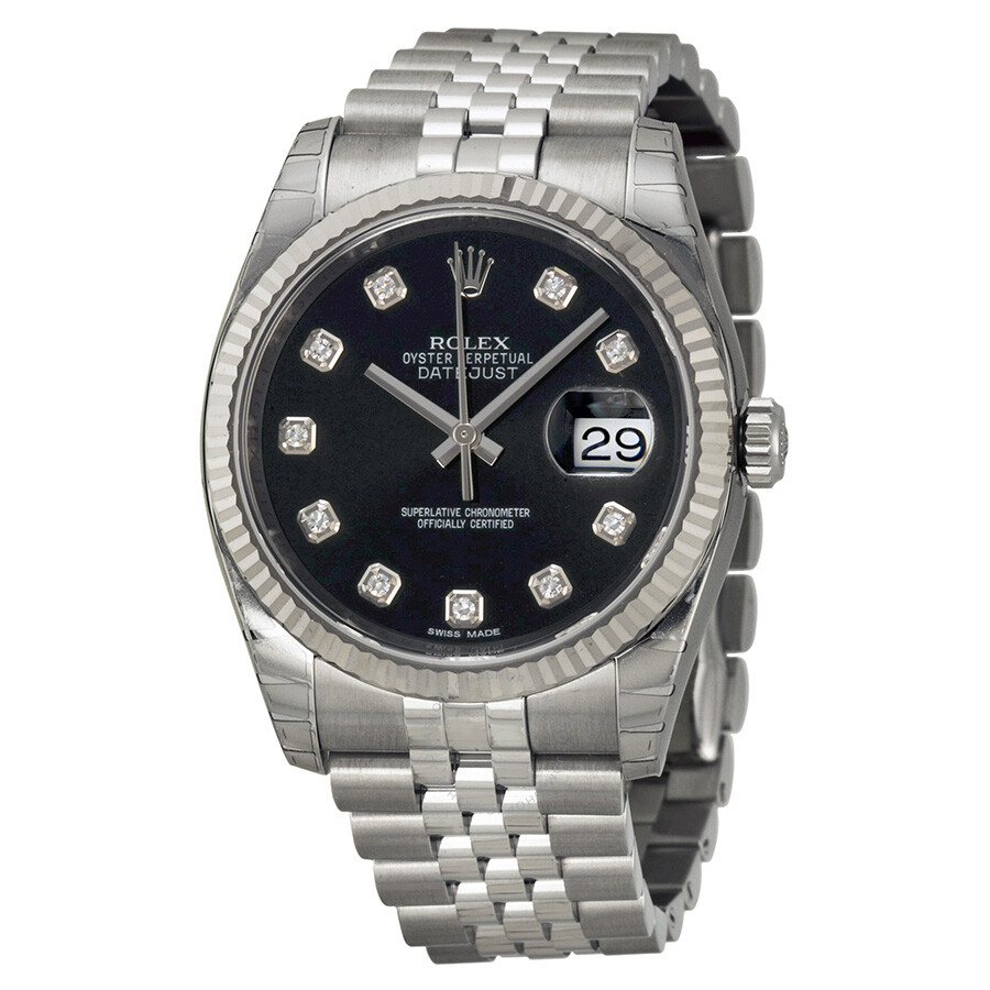Rolex oyster perpetual 36 mm black dial stainless steel jubilee bracelet automatic men 39 s watch for Stainless watches