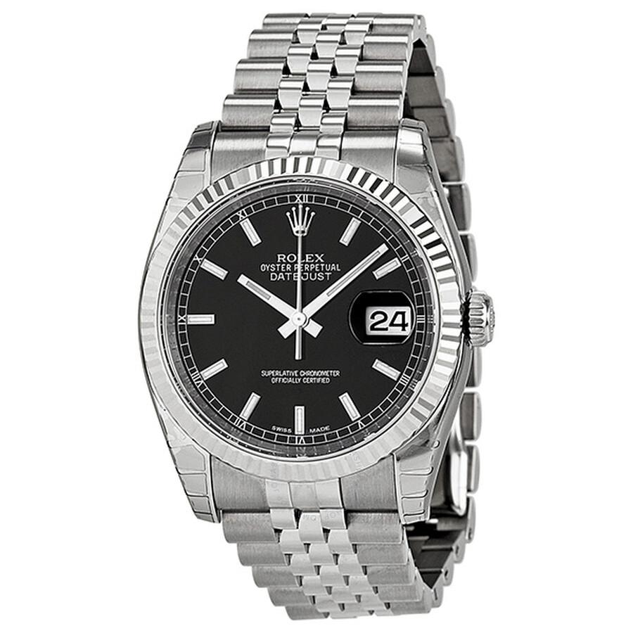 Rolex Oyster Perpetual 36 Mm Black Dial Stainless Steel Jubilee Bracelet Automatic Men S Watch 116234bksj