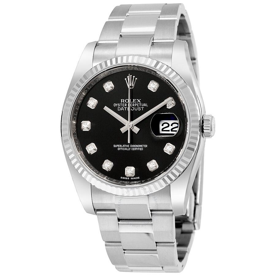 Rolex Oyster Perpetual 36 mm Black Diamond Dial Bracelet Automatic Men s  Watch 116234BKDO ... 2ca6b34a1bb8