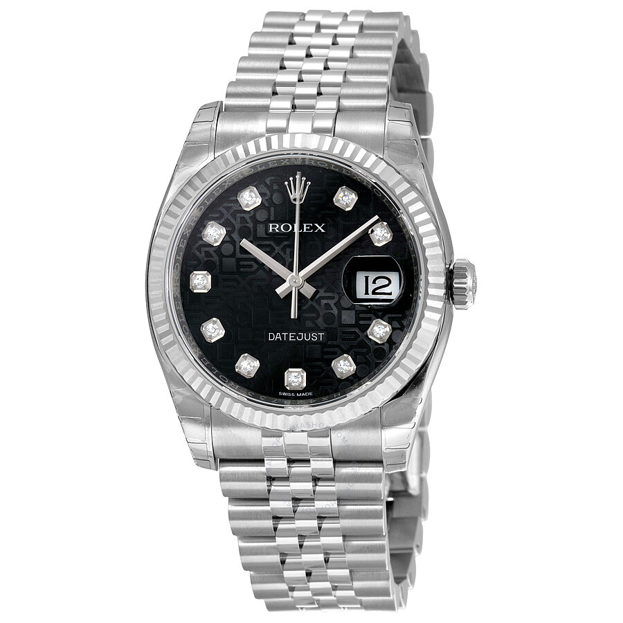 Rolex oyster perpetual 36 mm black dial stainless steel jubilee bracelet automatic men 39 s watch for Jubilee watch