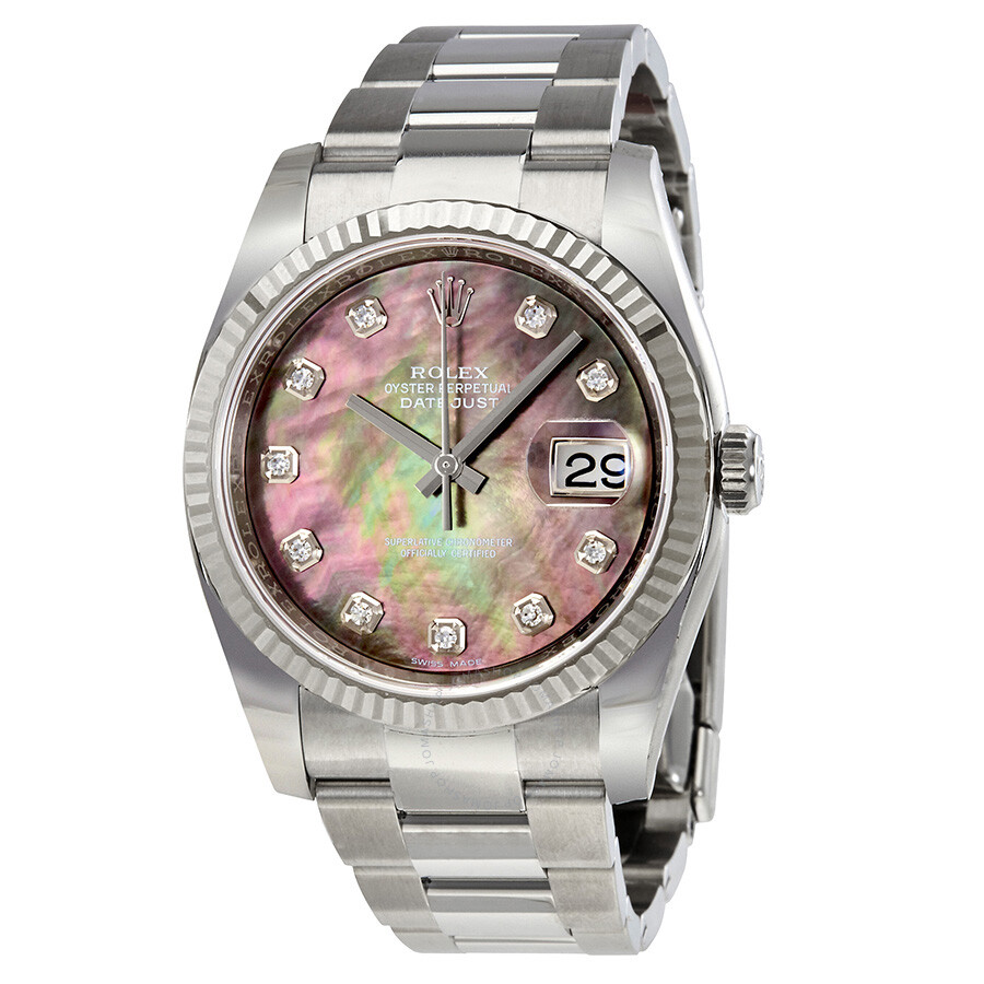Rolex oyster perpetual 36 mm black mother of pearl dial stainless steel bracelet automatic for Pearl watches