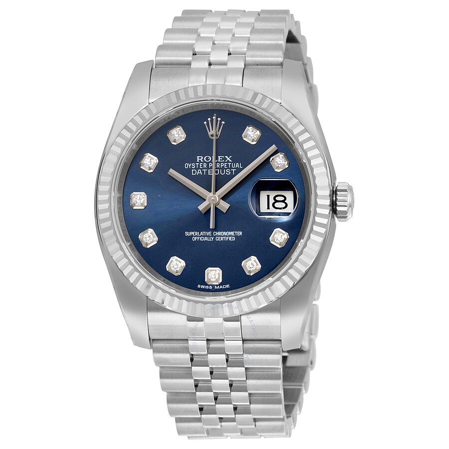 Rolex Datejust Blue Diamond Dial Jubilee Bracelet Fluted ...