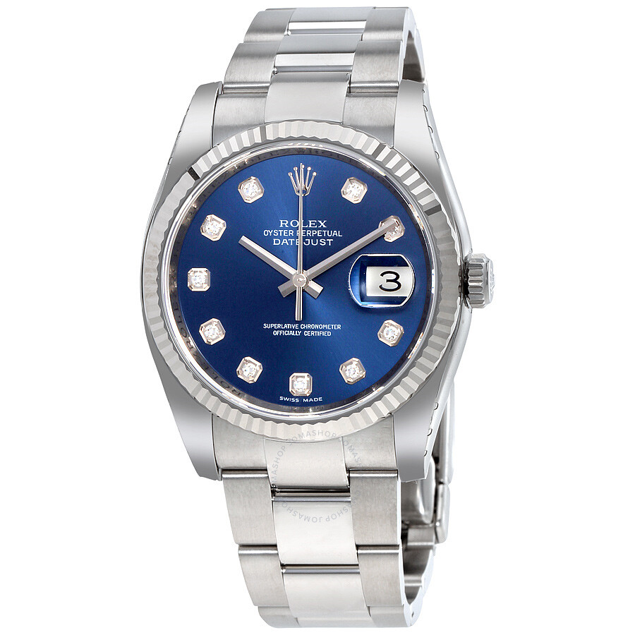 rolex datejust blue dial automatic stainless steel ladies