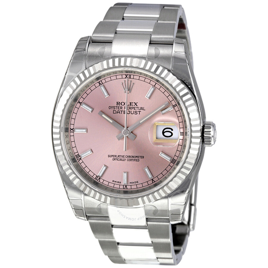 Rolex Oyster Perpetual 36 Mm Pink Dial Stainless Steel Bracelet