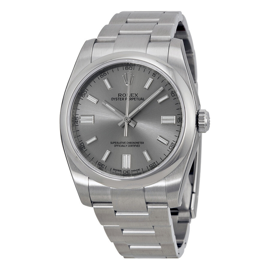 Rolex oyster perpetual 36 mm rhodium dial stainless steel rolex oyster automatic men 39 s watch for Oyster watches