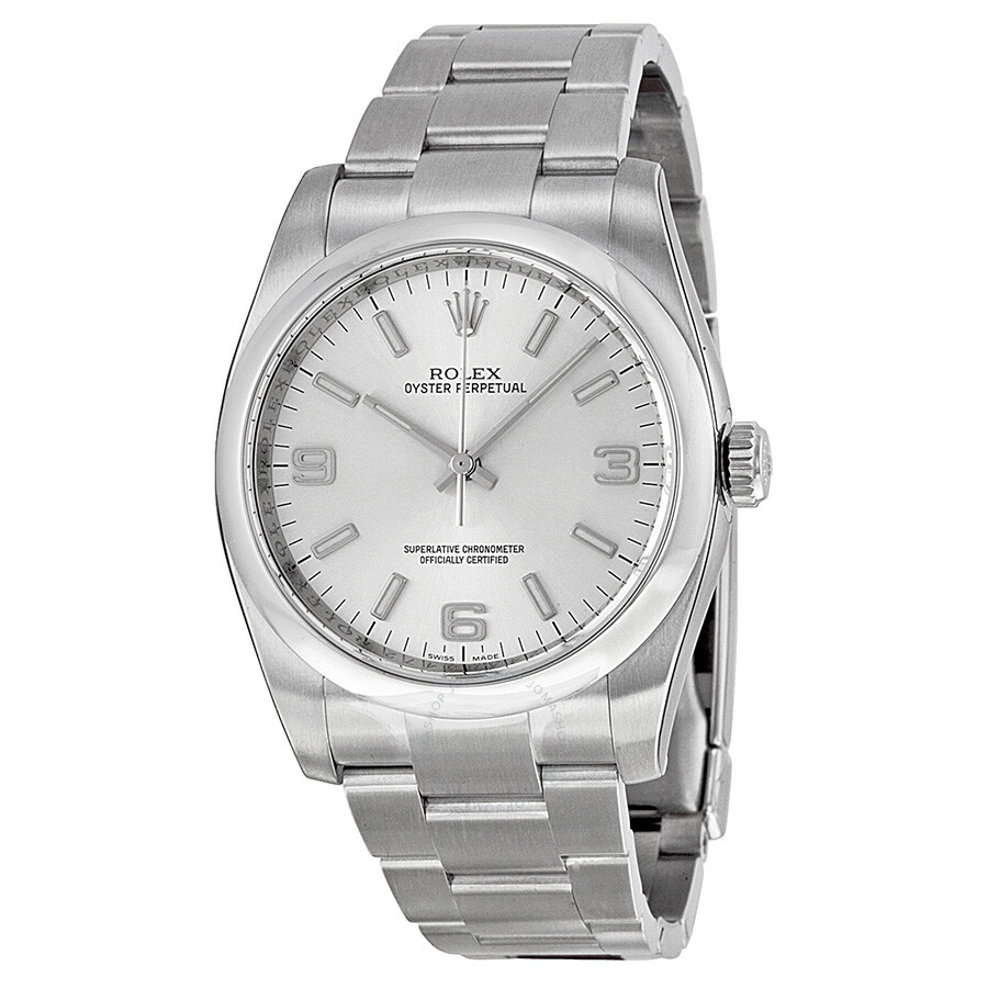 Rolex oyster perpetual 36 mm silver dial stainless steel automatic men 39 s watch 116000saso for Oyster watches