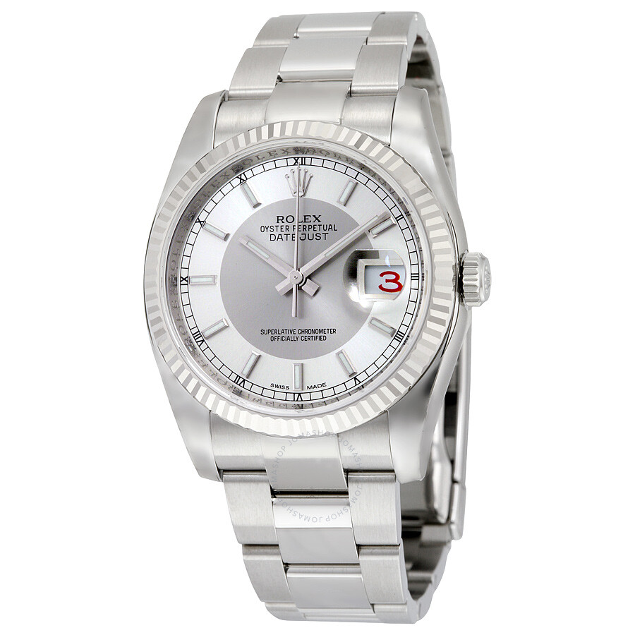 Rolex oyster perpetual 36 mm silver rhodium dial stainless steel bracelet automatic ladies watch for Oyster watches