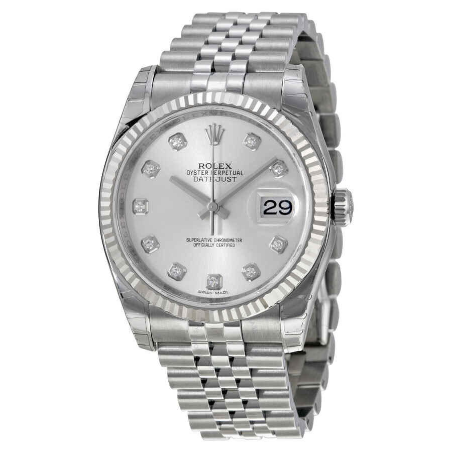 Rolex Oyster Perpetual 36 Mm Silver With 10 Diamonds Dial Stainless Steel Jubilee Bracelet Automatic Men S Watch 116234sdj