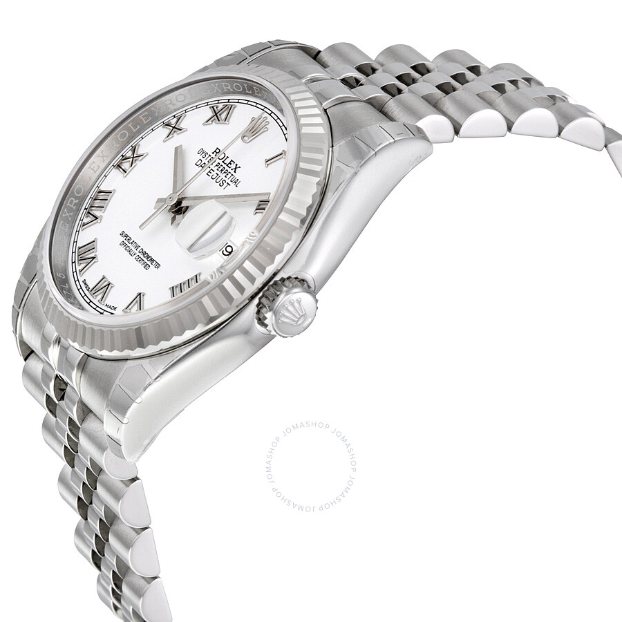 Rolex Oyster Perpetual 36 Mm White Dial Stainless Steel Jubilee