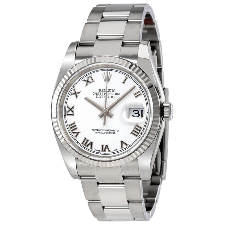 rolex datejust white roman dial 18k white gold fluted bezel oyster bracelet men 39 s watch. Black Bedroom Furniture Sets. Home Design Ideas