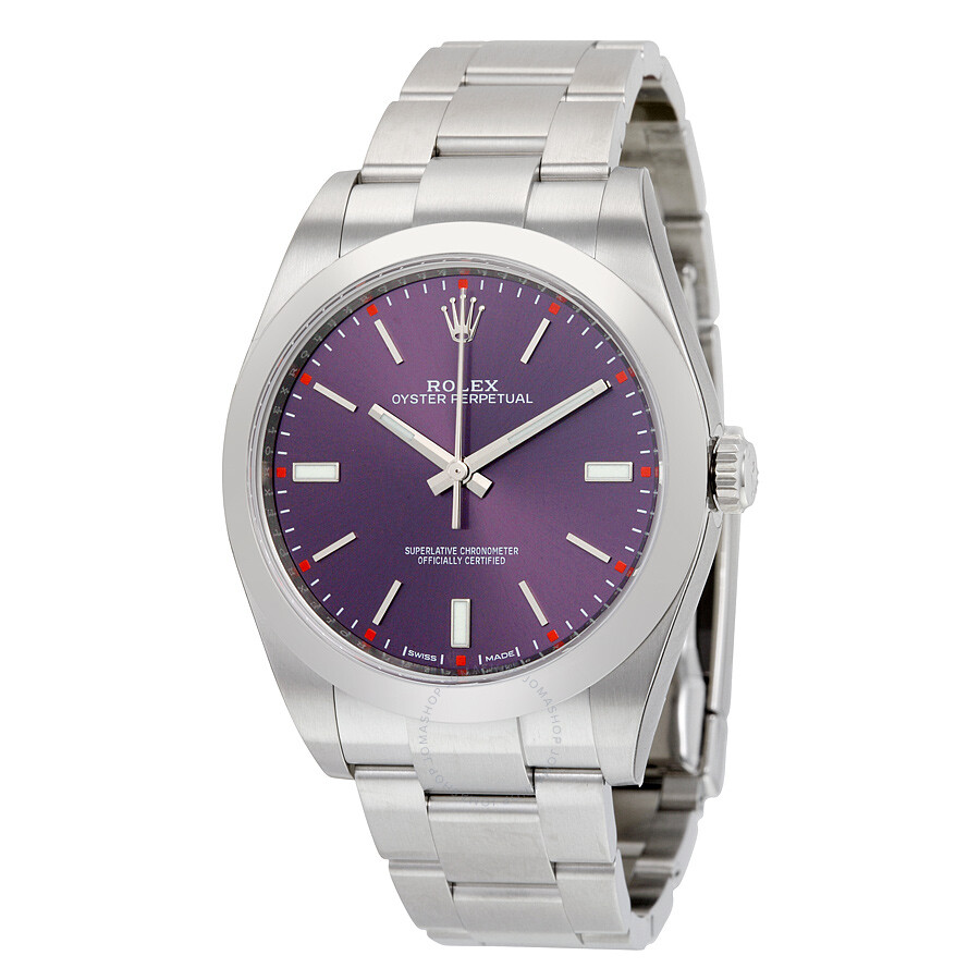 Rolex oyster perpetual red grape dial stainless steel men 39 s watch 114300rgso oyster perpetual for Oyster watches