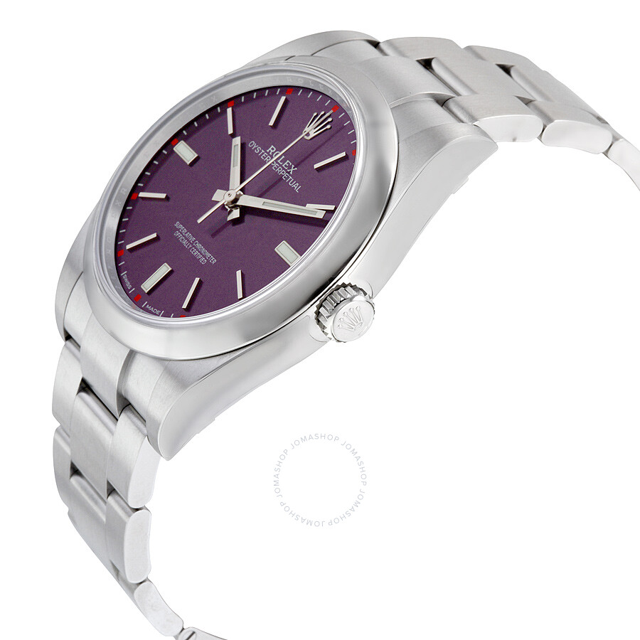 2cacb44ae77ea ... Rolex Oyster Perpetual 39 Red Grape Dial Stainless Steel Bracelet  Automatic Men s Watch 114300RGSO ...