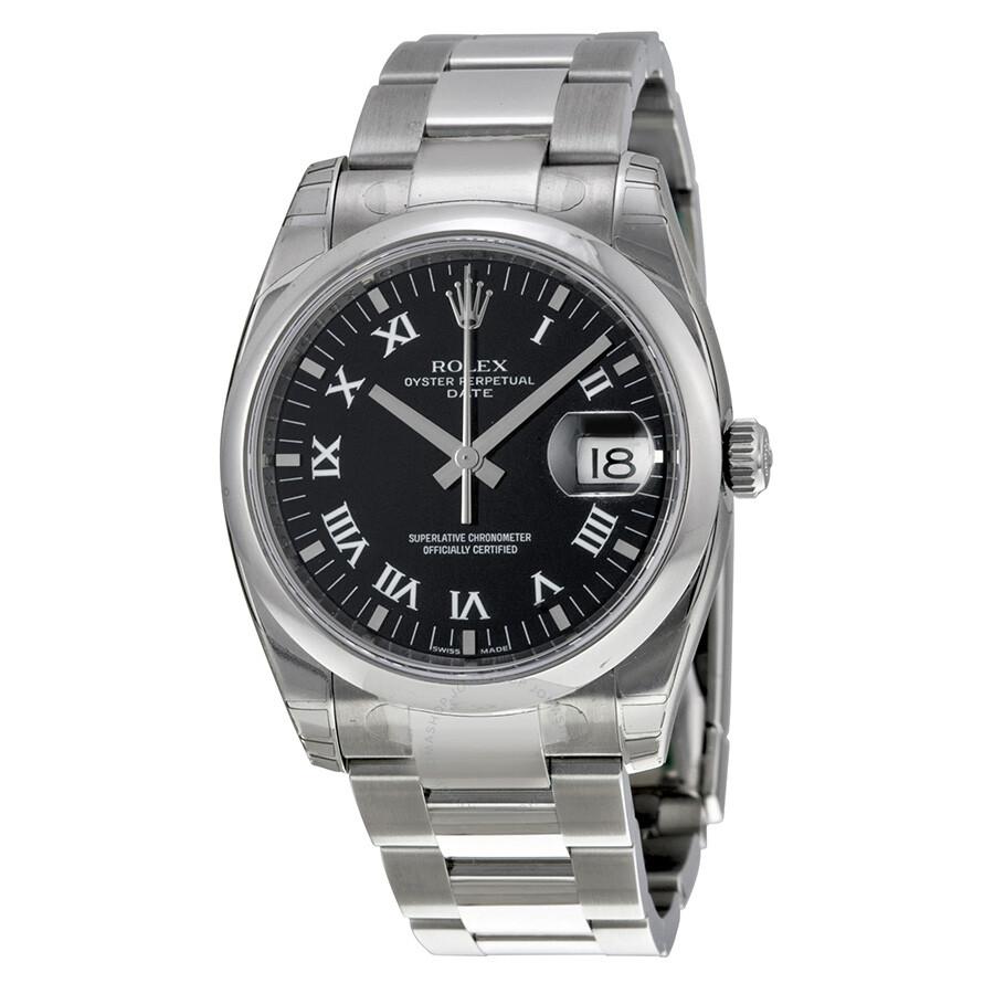 rolex oyster perpetual date black dial men 39 s watch. Black Bedroom Furniture Sets. Home Design Ideas
