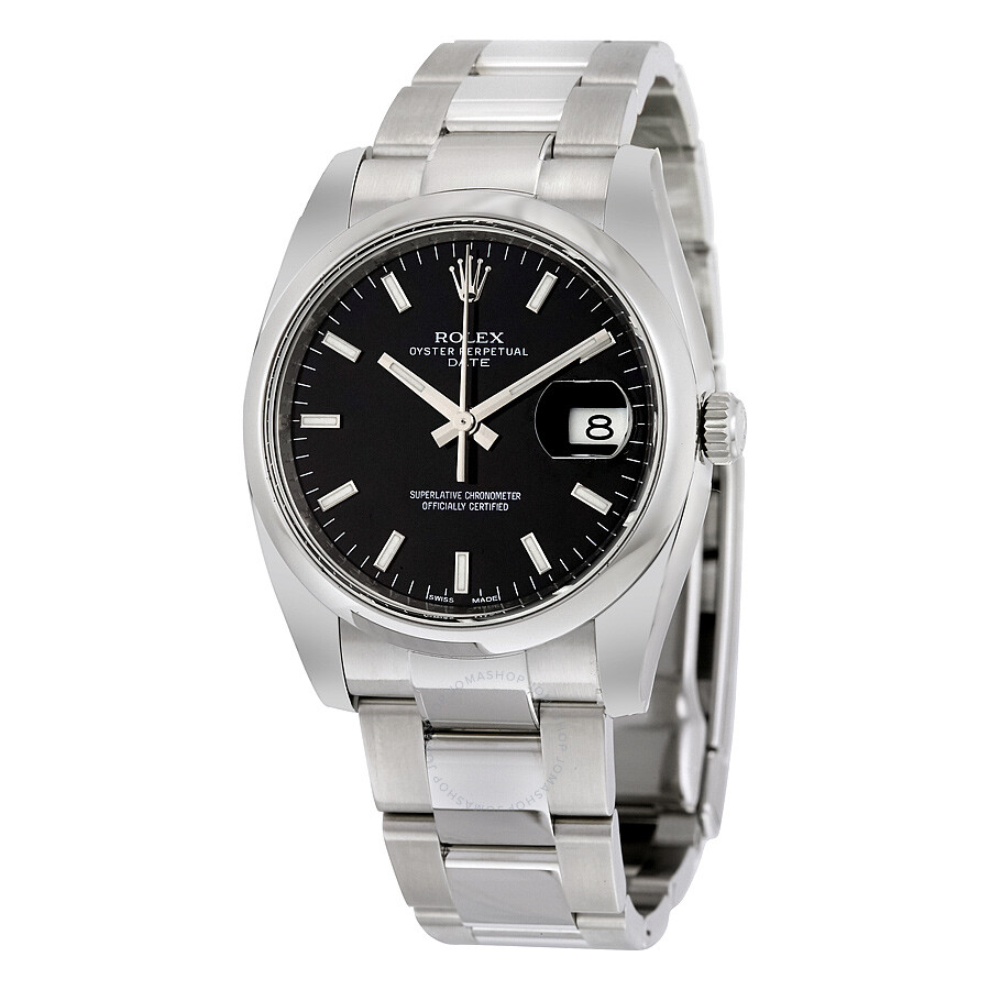 Rolex oyster perpetual date 34 black dial stainless steel rolex oyster automatic men 39 s watch for Oyster watches