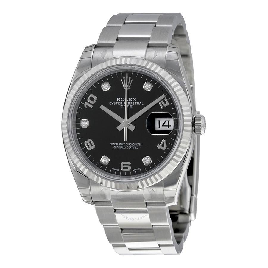 2ef9a45ee8ba Rolex Oyster Perpetual Date 34 Black Dial Stainless Steel Bracelet  Automatic Men s Watch 115234BKADO ...