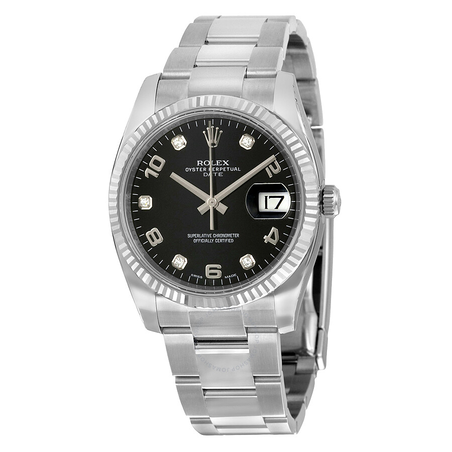 Rolex oyster perpetual date black diamond dial 18kt fluted white gold bezel 34 mm men 39 s watch for Oyster watches