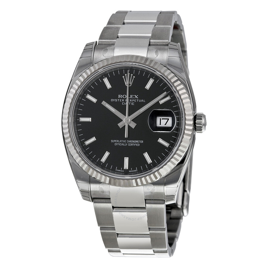 Rolex oyster perpetual date 34 black dial stainless steel bracelet automatic men 39 s watch for Oyster watches