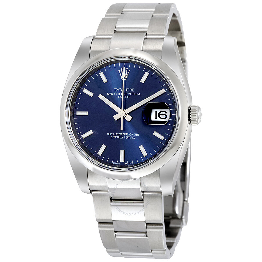 Rolex Oyster Perpetual Date 34 Blue Dial Stainless Steel Bracelet Automatic  Men\u0027s Watch 115200BLSO