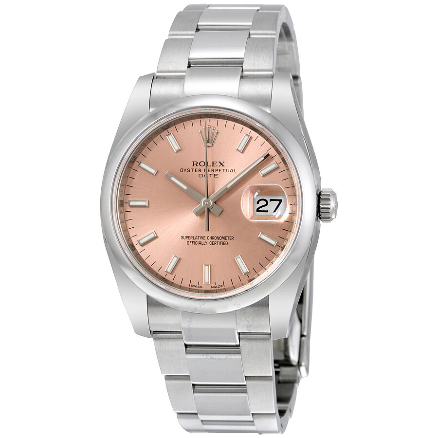 oyster-perpetual-date-34-pink-dial-stainless-steel-bracelet-automatic-unisex-watch by rolex