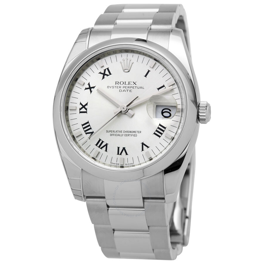 0a97fd03e3cb Rolex Oyster Perpetual Date 34 Silver Dial Stainless Steel Bracelet  Automatic Men s Watch 115200SRO ...