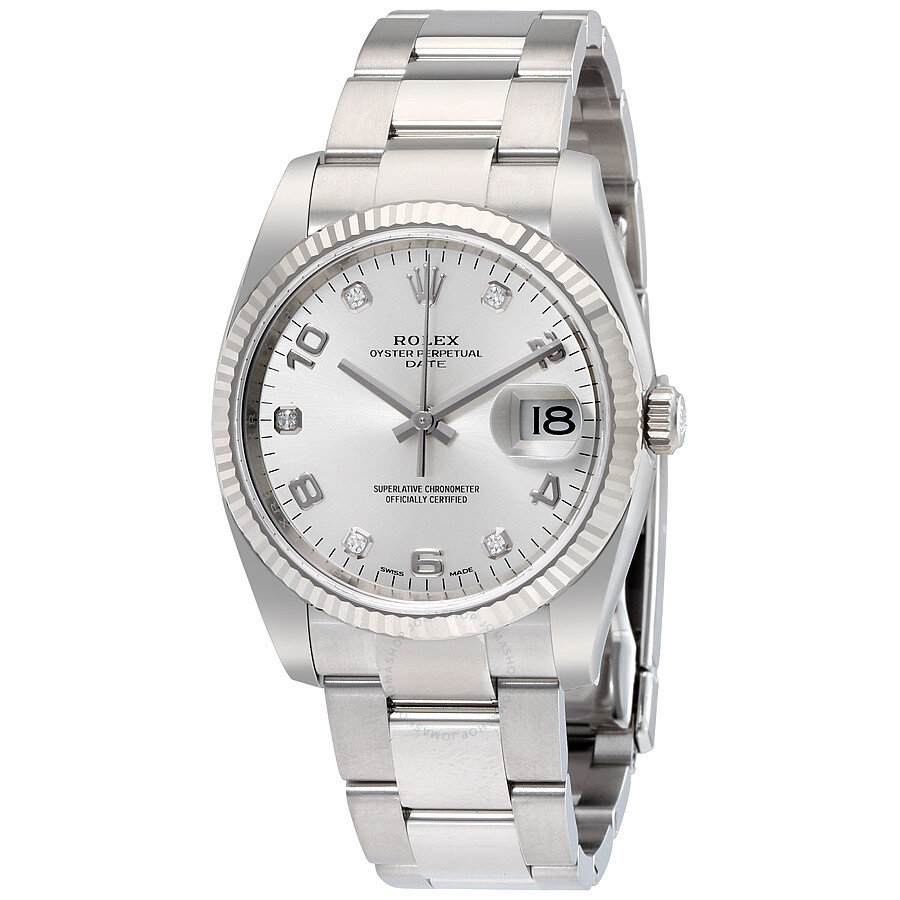 d1cfa328fac2 Rolex Oyster Perpetual Date 34 Silver Dial Stainless Steel Bracelet  Automatic Men s Watch 115234SADO ...