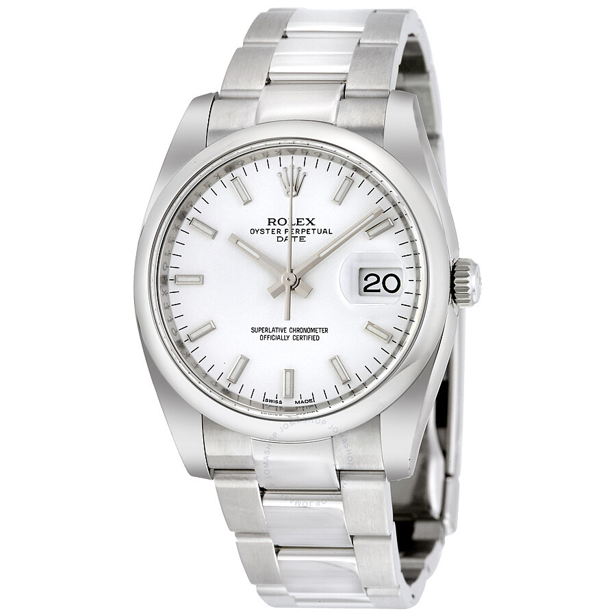 fabee7b9c22b Rolex Oyster Perpetual Date 34 White Dial Stainless Steel Bracelet  Automatic Men s Watch 115200WSO ...