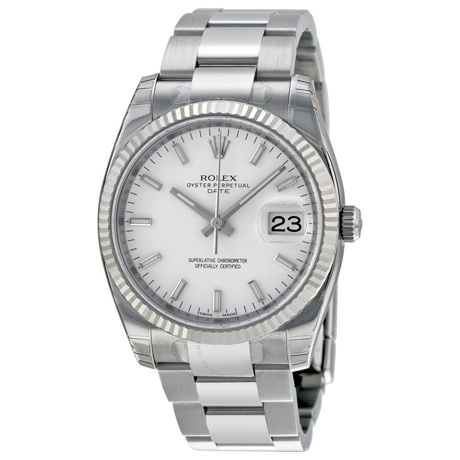 rolex oyster perpetual date 34 white dial stainless steel. Black Bedroom Furniture Sets. Home Design Ideas