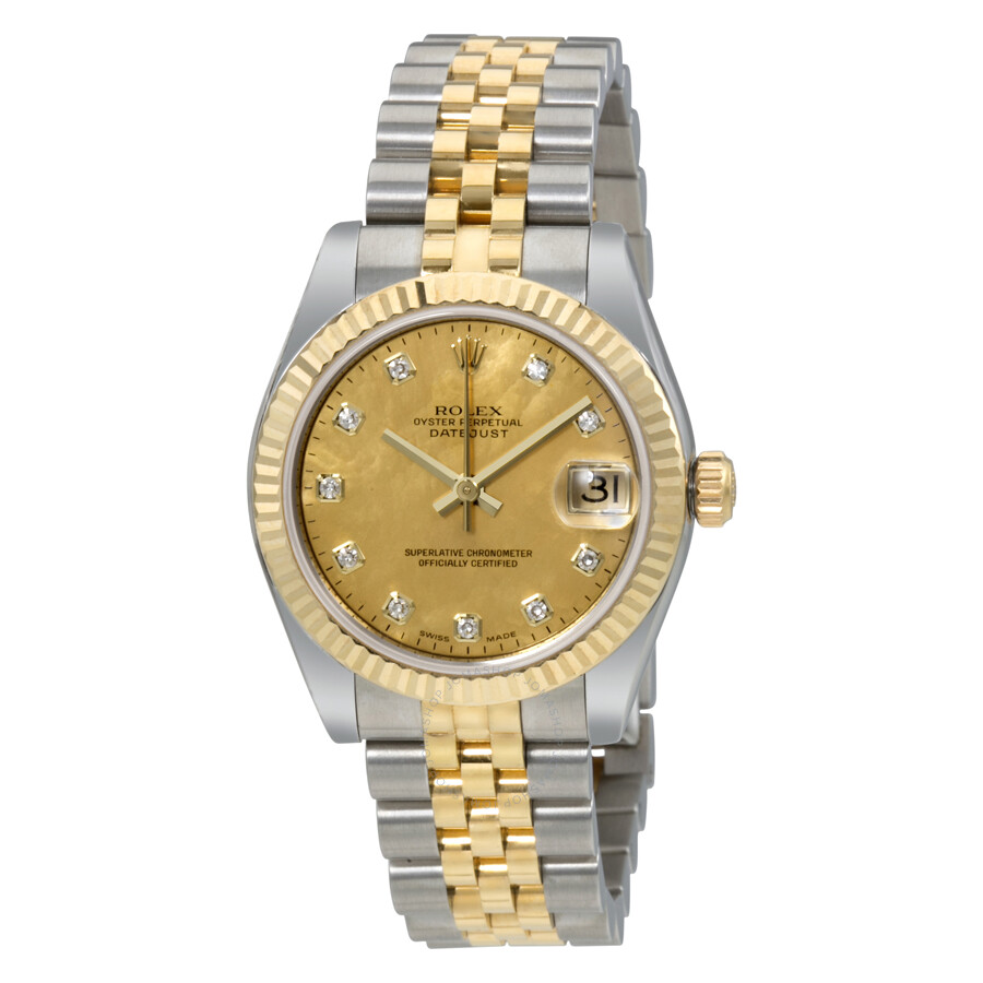 rolex oyster perpetual datejust 18 carat yellow gold jubilee automatic ladies watch 178273gddj. Black Bedroom Furniture Sets. Home Design Ideas