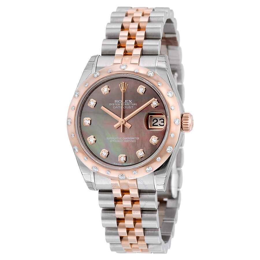 Rolex Oyster Perpetual Datejust 31 Black Mother of Pearl Dial Stainless  Steel and 18K Everose Gold ... c4dec9d34a90