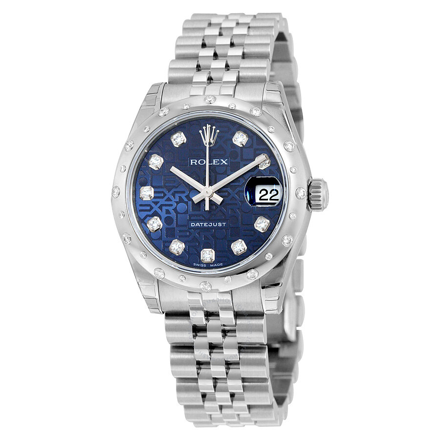 rolex oyster perpetual datejust 31 blue jubilee diamond dial steel and 18k white gold ladies. Black Bedroom Furniture Sets. Home Design Ideas