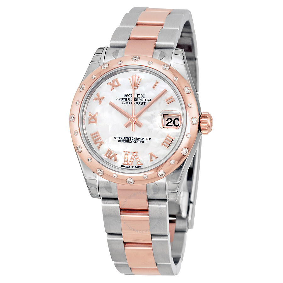 Rolex oyster perpetual datejust 31 mother of pearl dial stainless steel and 18k everose gold for Rolex date just 31