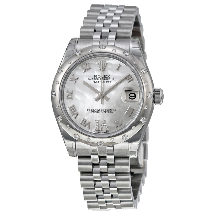 Rolex oyster perpetual datejust 31 mother of pearl dial stainless steel jubilee bracelet for Rolex date just 31