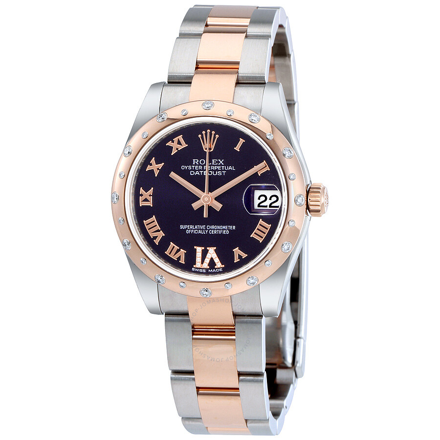 Rolex oyster perpetual datejust 31 purple dial stainless steel and 18k everose gold rolex oyster for Oyster watches