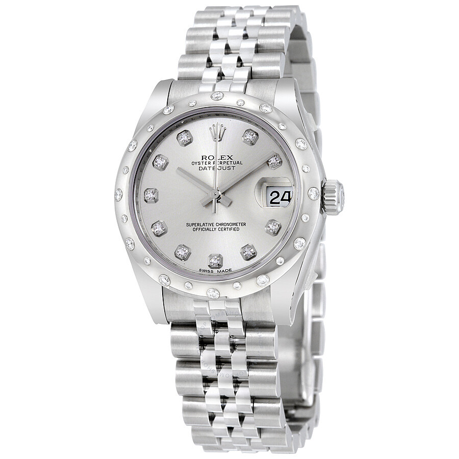 Rolex datejust lady 31 silver dial steel and 18k white gold diamond jubilee ladies watch for Rolex date just 31