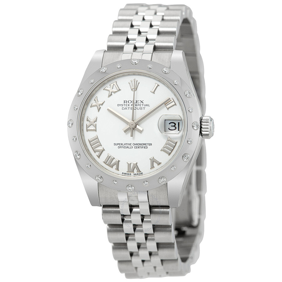 Rolex oyster perpetual datejust 31 white dial stainless steel rolex jubilee automatic ladies for Jubilee watch