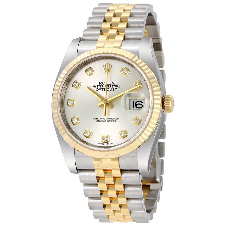 48a8be8eb9edc Rolex Oyster Perpetual Datejust 36 Automatic Silver Dial Stainless Steel  and 18kt Yellow Gold Jubilee Bracelet Men s Watch 116233SDJ Item No. 116233 -SDJ
