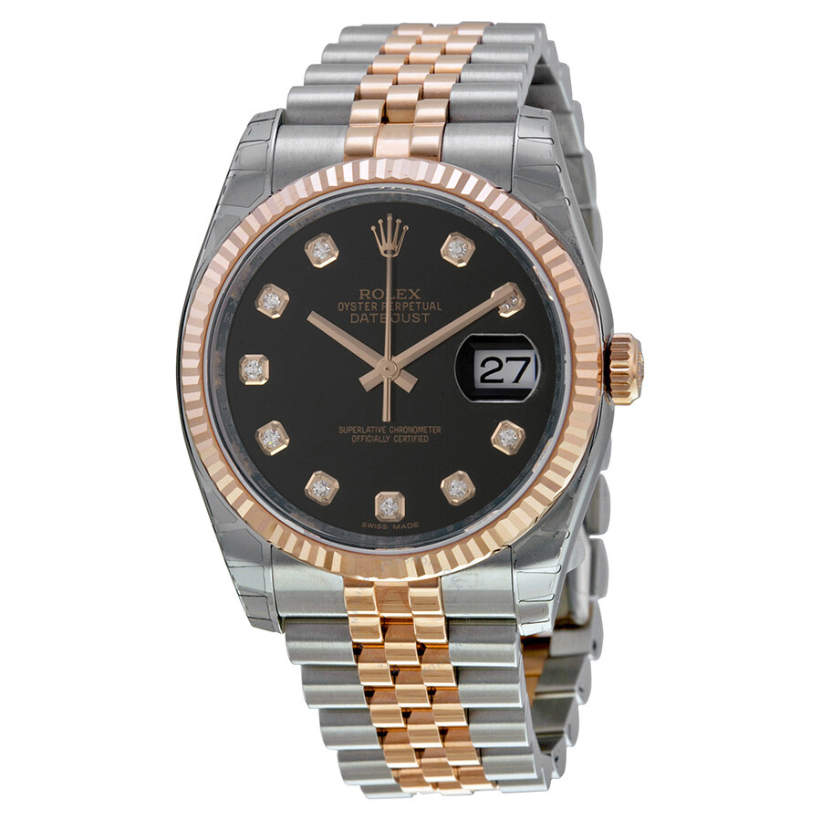 rolex oyster perpetual datejust 36 black dial stainless steel and 18k everose gold rolex jubilee. Black Bedroom Furniture Sets. Home Design Ideas