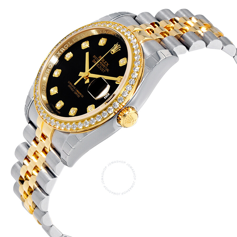 Oyster Perpetual Datejust 36 Black Dial Stainless Steel and 18K Yellow Gold Jubilee Bracelet Automatic Ladies Watch 116243BKDJ
