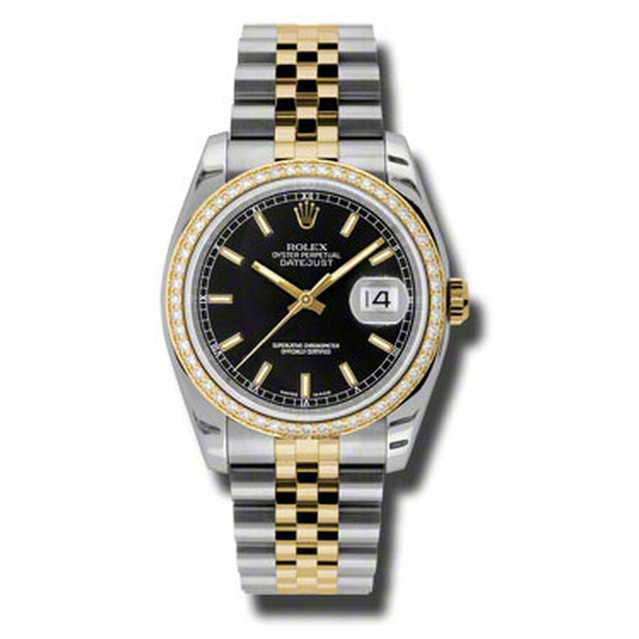 Oyster Perpetual Datejust 36 Black Dial Stainless Steel and 18K Yellow Gold Jubilee Bracelet Automatic Ladies Watch 116243BKSJ