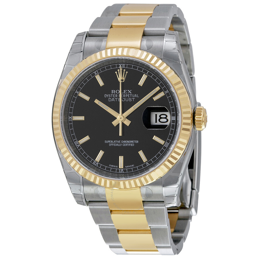 rolex oyster perpetual datejust 36 black dial stainless steel and 18k yellow gold bracelet. Black Bedroom Furniture Sets. Home Design Ideas