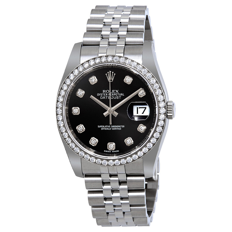 rolex oyster perpetual datejust 36 black dial stainless steel rolex jubilee automatic ladies. Black Bedroom Furniture Sets. Home Design Ideas