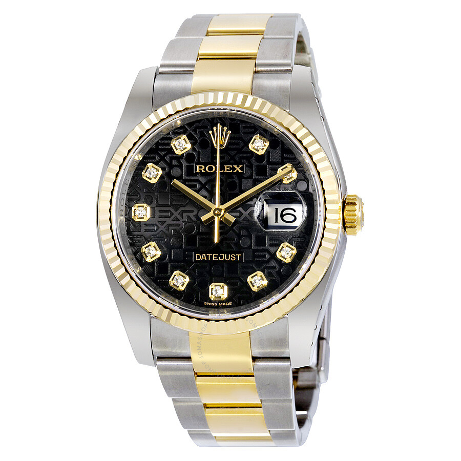 rolex oyster perpetual datejust 36 black jubilee dial stainless steel and 18k yellow gold rolex. Black Bedroom Furniture Sets. Home Design Ideas