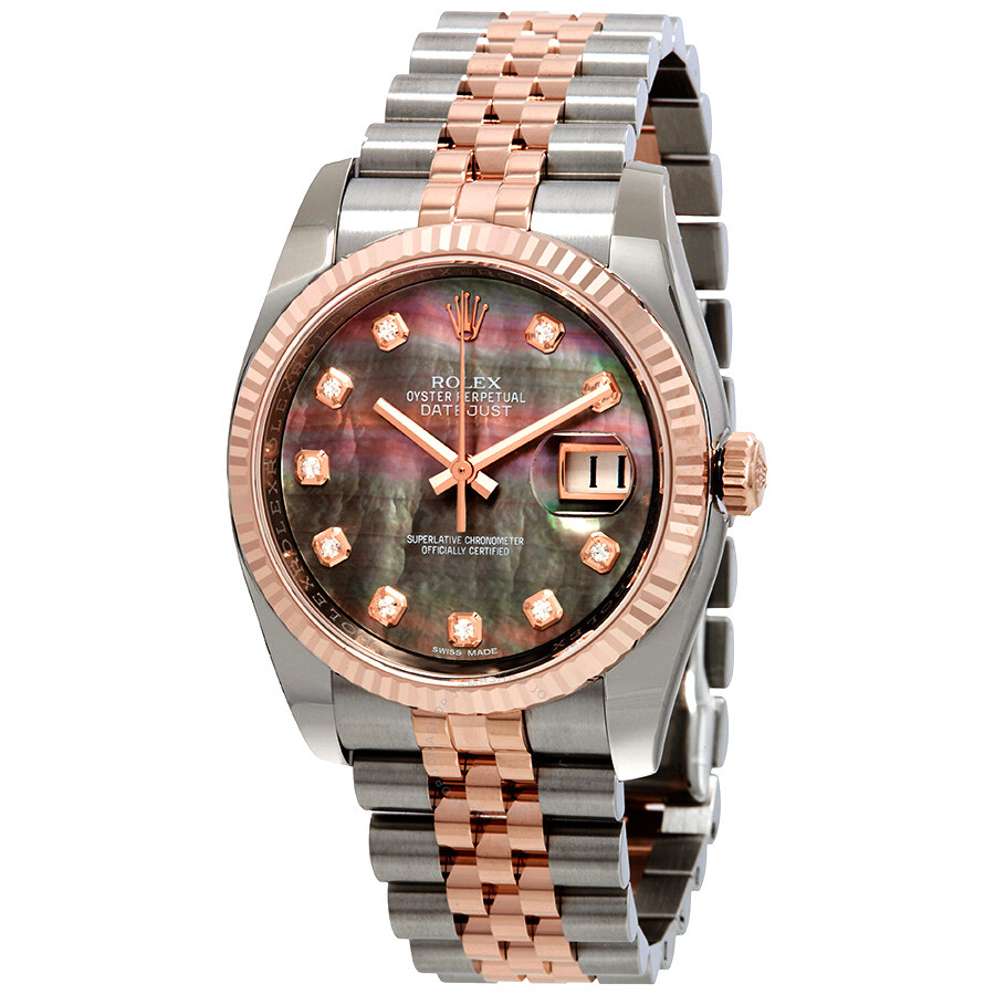 5a91df73e4e Rolex Oyster Perpetual Datejust 36 Black Mother of Pearl Dial Stainless  Steel and 18K Everose Gold ...
