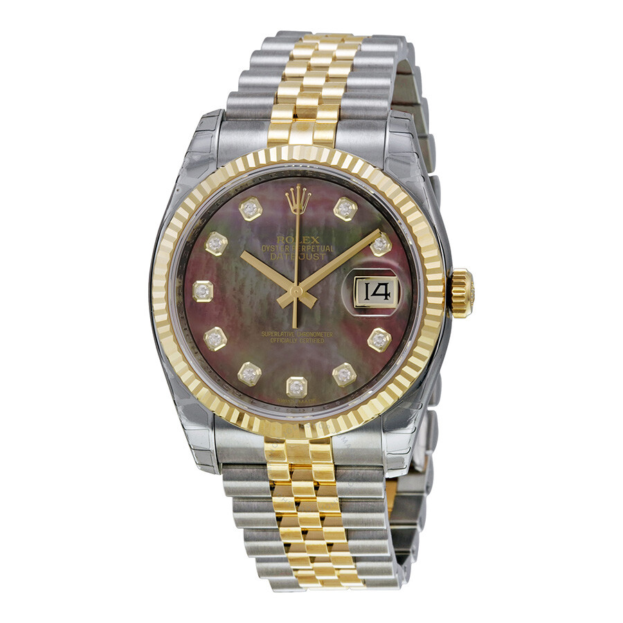 Rolex datejust black mother of pearl diamond dial steel and 18k yellow gold men 39 s watch for Pearl watches