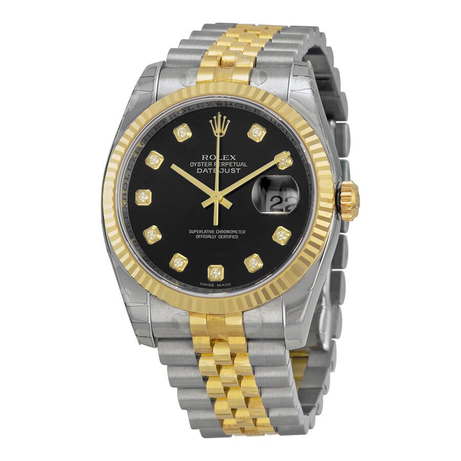 Rolex datejust black diamond dial jubilee bracelet men 39 s watch 116233bkdj datejust rolex for Rolex watch
