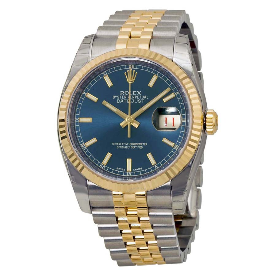Rolex Oyster Perpetual Datejust 36 Blue Dial Stainless Steel and 18K Yellow  Gold Jubilee Bracelet Automatic Men\u0027s Watch 116233BLSJ
