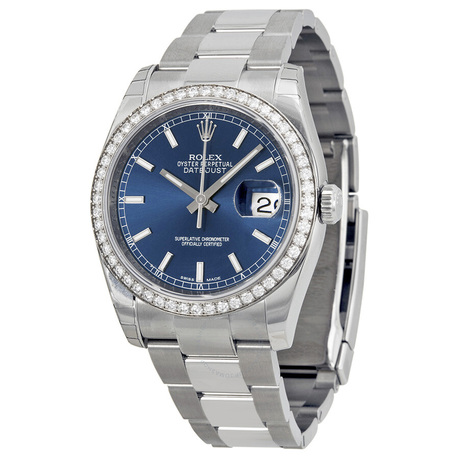 Rolex Oyster Perpetual Datejust 36 Blue Dial Stainless Steel Bracelet  Automatic Unisex Watch 116244BLSO